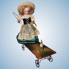 Lanternier French Pull Toy Doll with Chicken