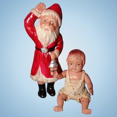 Celluloid Santa and Baby Doll