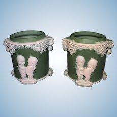 Kewpie Jasper Ware Green Jars no lids