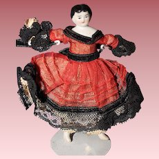 Tiny China Doll 1880 3 1/2 inches tall