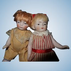 All Bisque German Twin Dolls