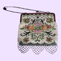 Beaded floral purse early 1900's