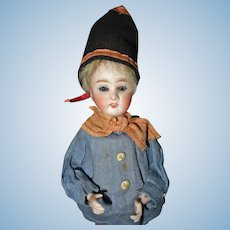 German Bisque Boy Candy Container Doll