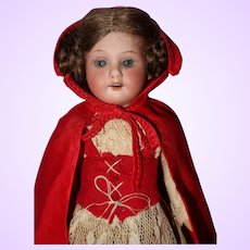 German Bisque Flapper Doll Red Riding Hood