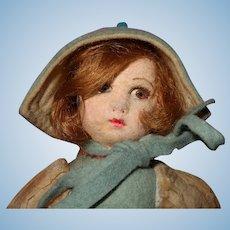 Tiny Felt Doll 1930's in organdy