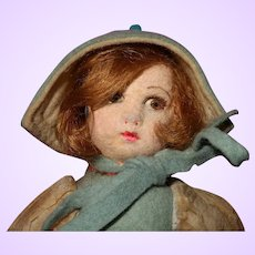 Tiny Felt Doll 1930's in organdy