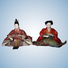 Hina Ningyo Pair of Japanese Dolls