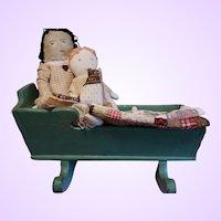 Cloth Folk Dolls, cat and cradle