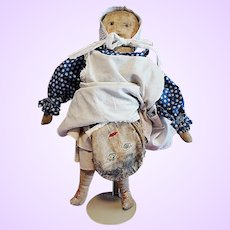 Early Cloth Folk Doll with Extra Mask Faces