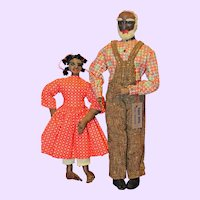 Ravca Rare Uncle Tom and Topsy Cloth Dolls