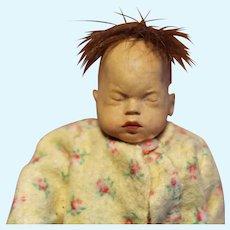 Rare Dewees Cochran Baby Doll in cradle