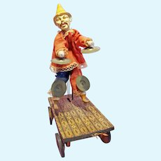 Early Paper Mache Chinese Man Pull Toy