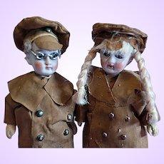 Pair German Bisque dolls all original