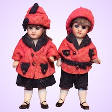 German All Bisque Pair boy and Girl