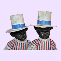 Black 1880 Patriotic Paper mache pair of dolls