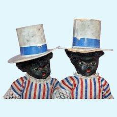 Black 1880 Patriotic Paper mache pair of dolls