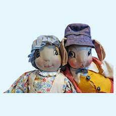 Uncle Wiggly and Nurse Jane Bunny Rabbit Dolls