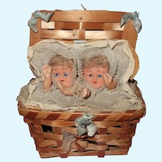 Early wax twin baby candy container