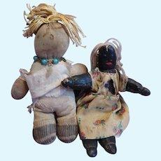 Two Small Early Folk Dolls
