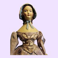 Paper mache thin layer wax Bonnet hatted doll