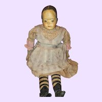 Early Cloth Painted Folk Doll with provenance