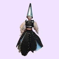 Unusual Grodnertal Tuck comb Wood Fortune Teller Doll