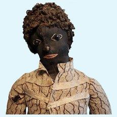 Early Black Cloth Folk Doll 23 1/2 inches tall