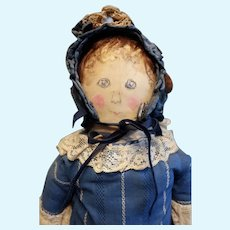 Early American Oil Painted Folk Cloth doll with wig