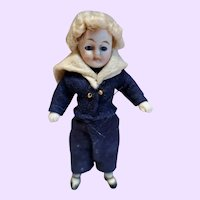 All Bisque Boy Doll Blond curly wig