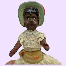 Unusual Black Bonnet Paper Mache Doll