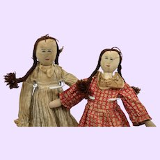 Pair home made folk Cloth Dolls