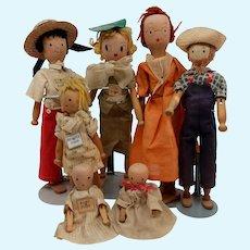 Schoenhut Pinn Family Set of 7 dolls