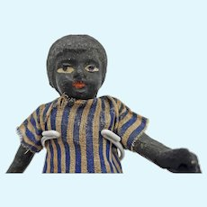 Early All Paper Mache Black Doll