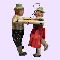 Pair Paper Mache Hanging Dolls