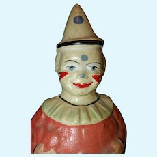 Roly Poly Paper mache clown with white hat