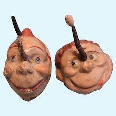 Early Katzenjammer Kids paper mache heads