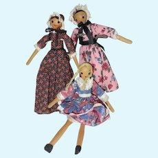Three vintage Penny Wood Dolls