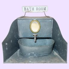 Early 1900 Metal bathroom with sign