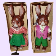 Bunny Rabbit Pair of Wind up West Germany