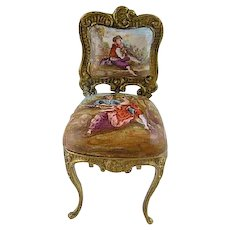 Antique  VIENNESE ENAMEL Miniature Louis XV  Side Chair