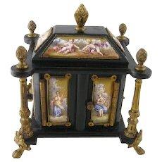 Antique Viennese Enamel 13 Plaque Ormolu Ebony   SPECIMAN CABINET Box