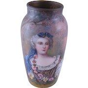 Rare Antique  VIENNESE ENAMEL Portrait Princess Elizabeth Vase