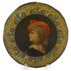 Antique ITALIAN  TOLE Painted Beautiful Woman Plate Charger