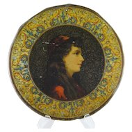 ANTIQUE TOLE Painted Italian Beautiful Woman Plate Charger