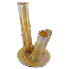 Antique Art Glass Steuben Signed Gold Aurene  TRIPLE THORN VASE