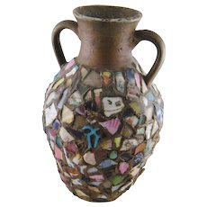 Antique  FRENCH PIQUE ASSIETTE Shard Ware Broken China Covered Vase