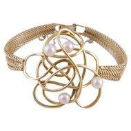 Estate 14 Karat Gold with White Pearls  and DESIGN WORK BRACELET
