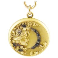 Antique Art Nouveau  Gold with Sapphires and Rose Cut Diamonds  BEAUTIFUL WOMAN LOCKET on Chain