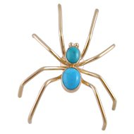 Modern Estate 14 Karat Gold  with TURQUOISE LARGE SPIDER Pin Brooch