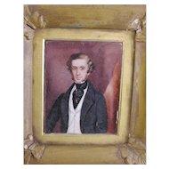 Antique   American James Walker Circa 1840 Framed  MINIATURE PORTRAIT